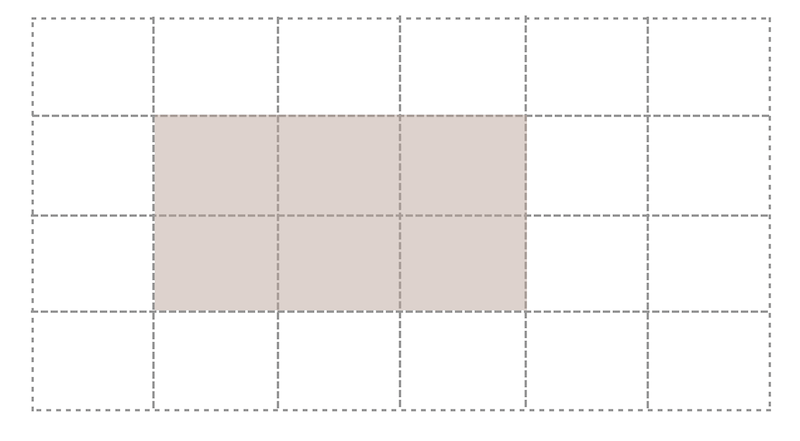 A grid area covering six cells of the defined grid