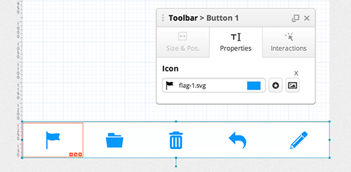 The toolbar with the first button selected. The Properties tab is used to remove or change icons.