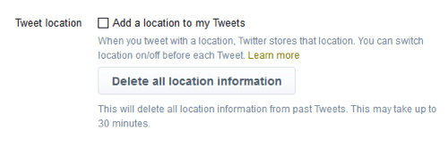 Twitter allows users to delete all geolocation data at any time.