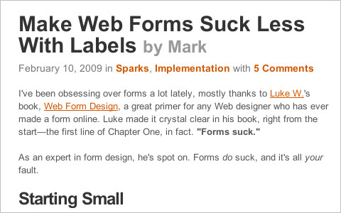 Make Web Forms Suck Less With Labels