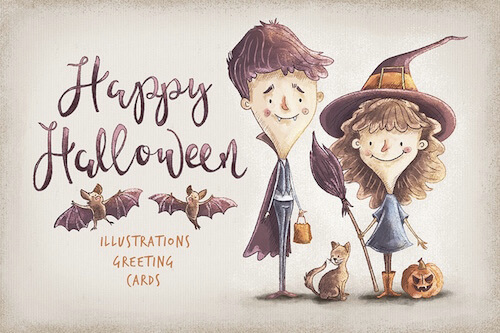 'Kids Halloween Characters and Elements' by Daria Danilova