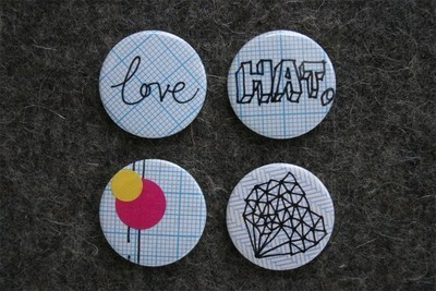 Pins, Badges and Buttons - hand drawn 1