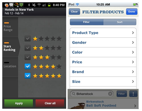UI Patterns For Mobile Apps: Search, Sort And Filter — Smashing Magazine