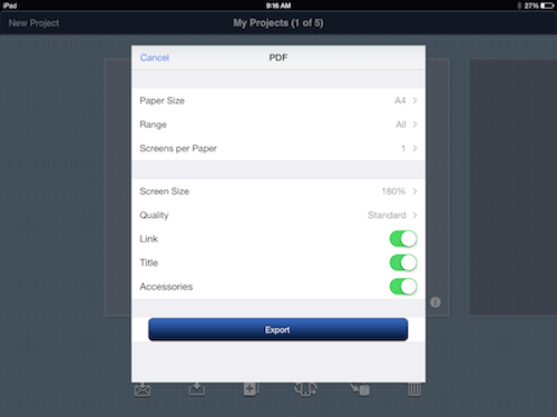 You can adjust the paper size, number of screens per page and other options.