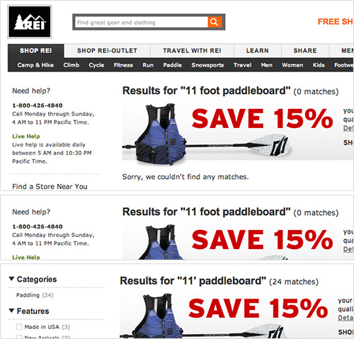 REI doesn't support length symbols or abbreviations, giving user's 0 results