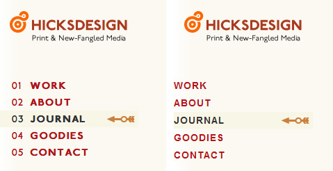 Comparison of the rendering of the Hicksdesign website on Firefox and IE