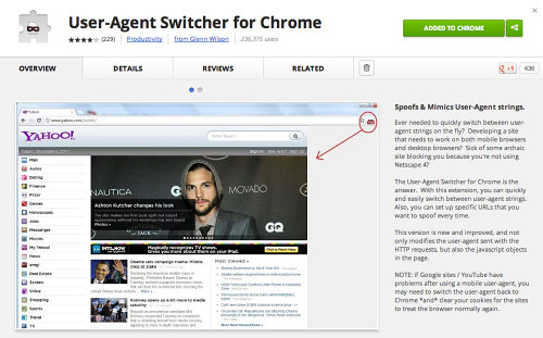 Mobile testing with the User Agent Switcher for Chrome.
