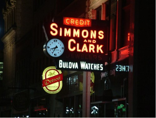 Vintage Signage - Simmons and Clark Jeweler in Downtown Detroit