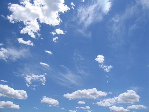 Photo of a blue sky with some clouds
