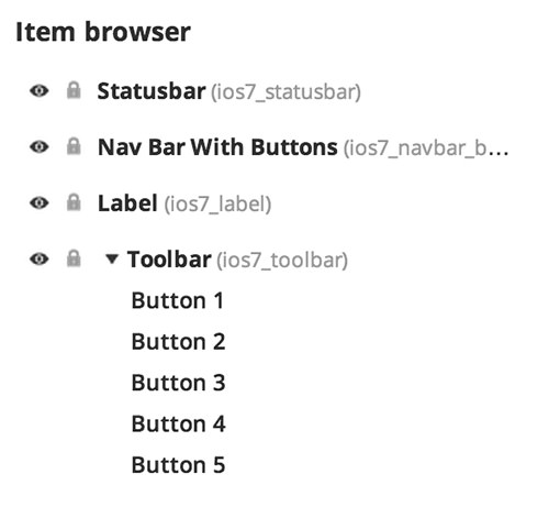 The Item browser with a set of components.