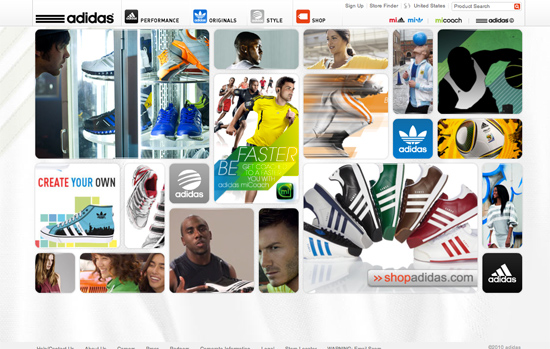 Screenshot, Adidas.com.