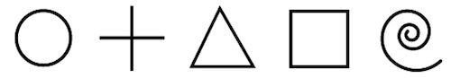 The five basic geometric shapes used in all cultural artwork in order of least to most complex
