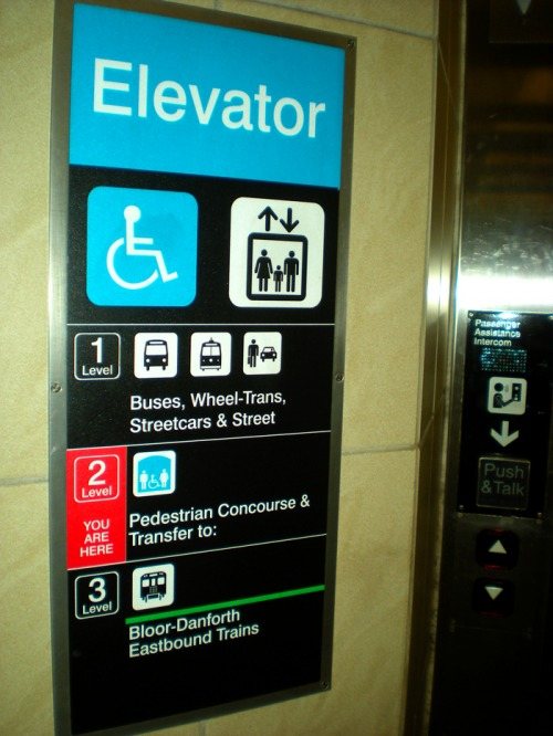 Wayfinding and Typographic Signs - subway-elevator