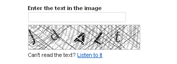 Captcha on Digg registration form