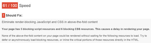 Critical CSS - Google PageSpeed Insights