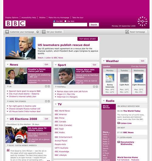 BBC Website Screenshots