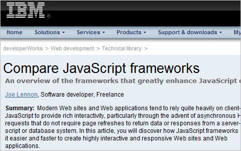Compare JavaScript frameworks