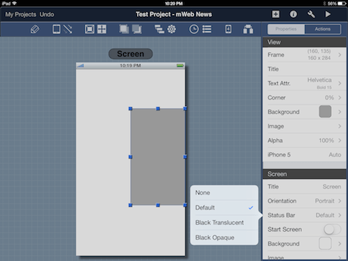Blueprint has new popup screens for menu options.