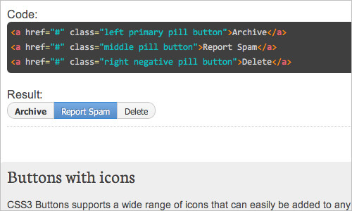 CSS3 Buttons | Simple CSS3 framework for creating GitHub style button links