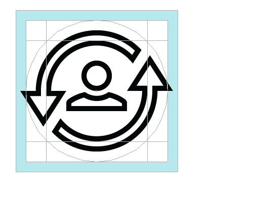 Round icon showing alignment with grid and key lines