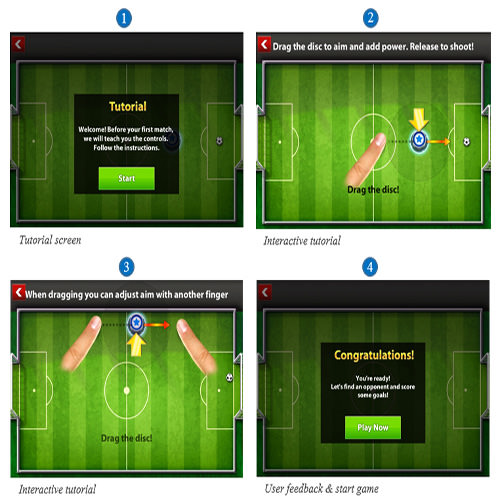 Soccer Stars has an interactive step-by-step tutorial that is easy to understand and that includes the option for user feedback