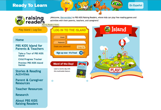PBS Kids island provides options to view the page in Spanish or English