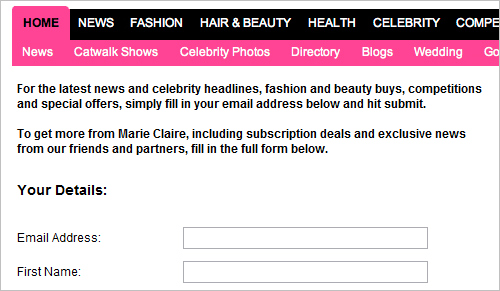 Marie Claire.co.uk newsletter subscription page