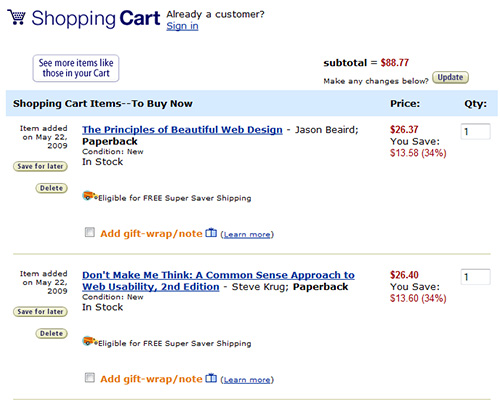 Amazon.com shopping cart