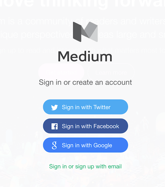 Medium's website
