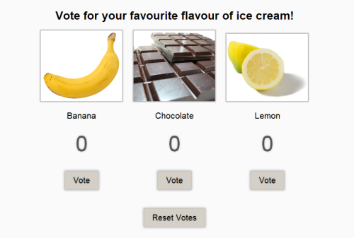 Screenshot of votes demo: banana, chocolate and lemon flavors offered as choices to vote for by pressing a button, plus the possibility to trigger a vote reset.