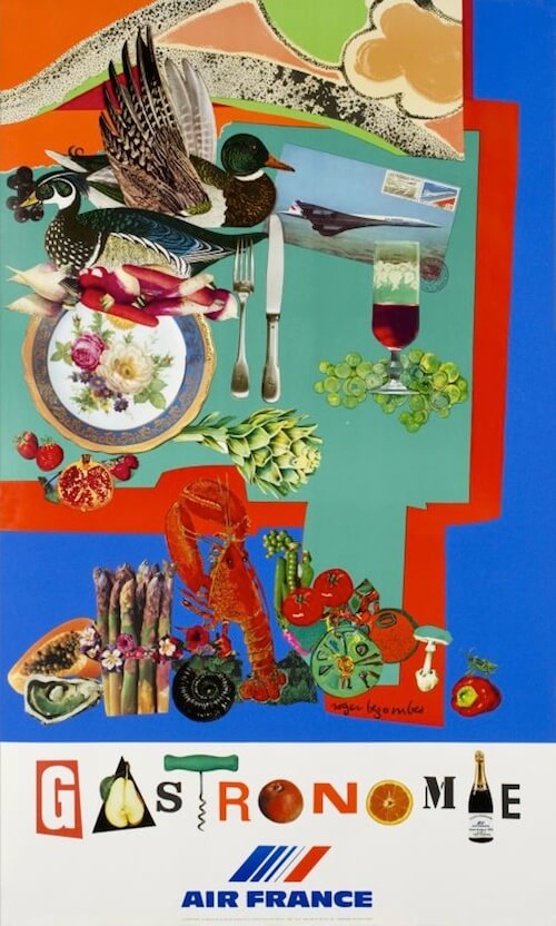 Roger Bezombes' 1981 Air France poster is one in a 16-part series and marks Air France's switch from promoting travel destinations to promoting concepts such as gastronomy or sophistication.