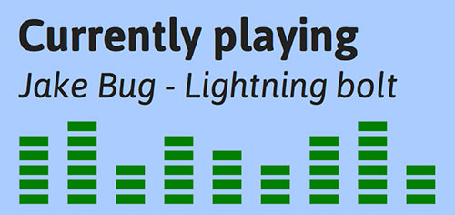 Box showing a graphic equalizer which reads currently playing, Jake bug lightning bolt