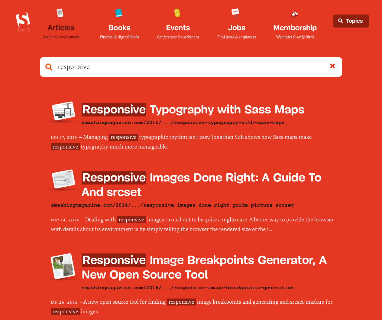 Inline search on SmashingMag