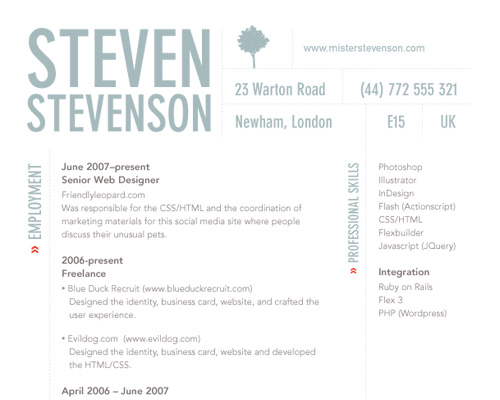 Chris Spooner Opts For A Purely Typographic, Clean Design That Showcases  His Ability To Display Information Without The Need For Adornment.  Design A Resume