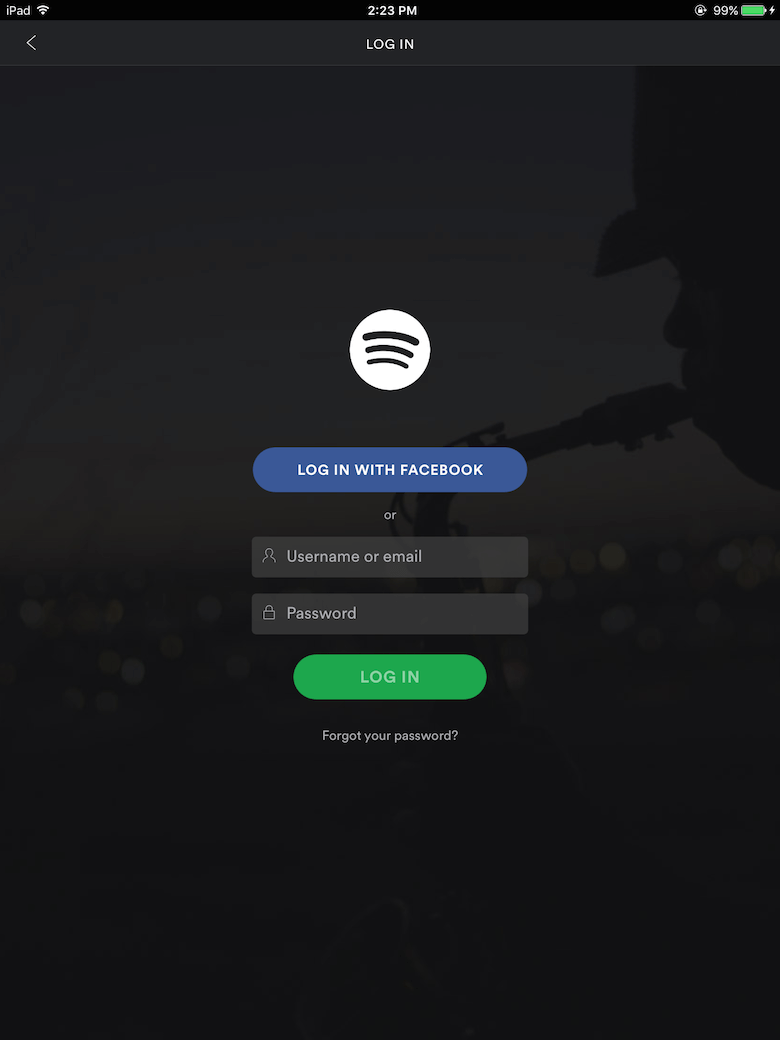 Spotify log-in screen with _Log in with Facebook_ option