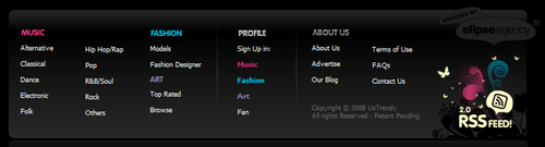 Footers - Us Trendy: Music, Fashion, Design and Art Portfolios. All in one place.