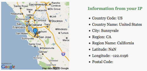 Getting the users geographical location using IP - in this case Sunnyvale, California