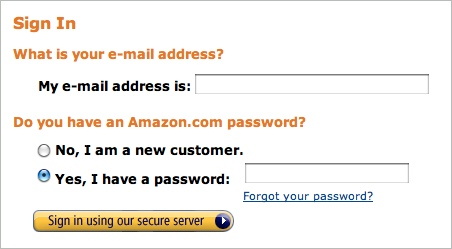 Amazon's sign-in button reinforces security