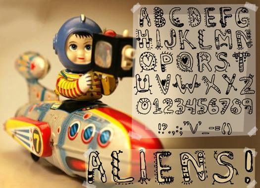 Beautiful Free Fonts - Denne's aliens