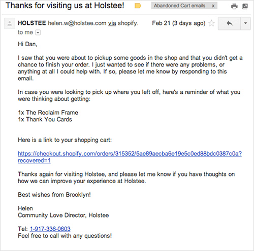 Holstee's email for abandoned carts.