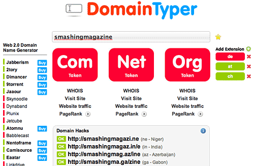 Screenshot Domaintyper