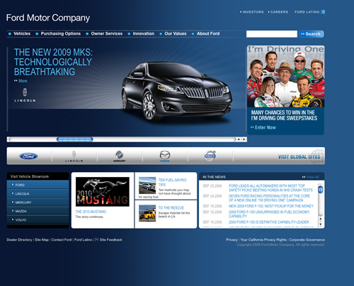 Ford Motors Website Screenshots