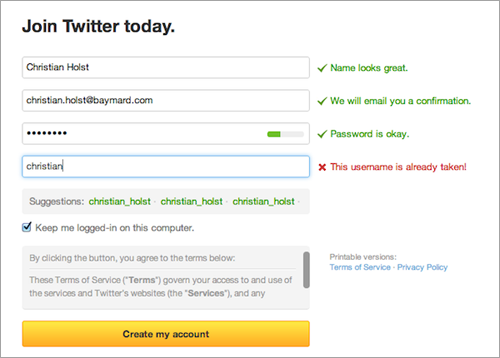 Twitter use Live Inline Validation at their sign-up page. Image credit: Twitter.com