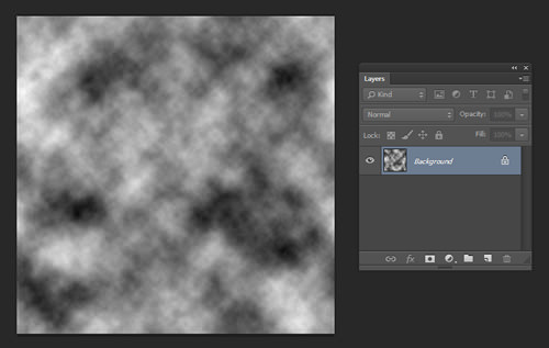 Clouds filter applied to a blank document.