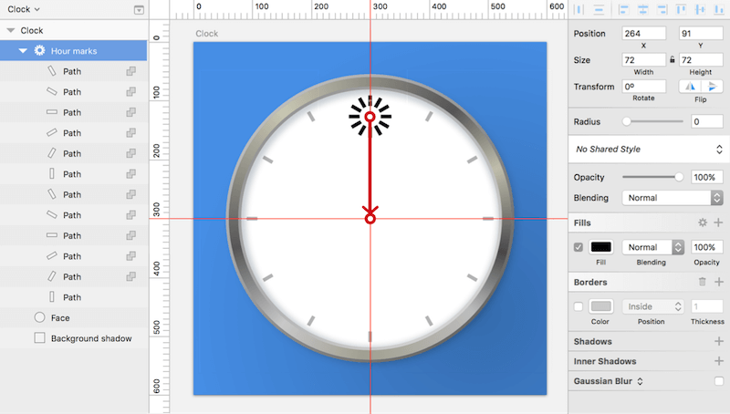 Create the rectangle for the twelfth hour, and add the remaining marks with the Rotate Copies function. Drag the indicator (red circle) to the intersection of the guides.