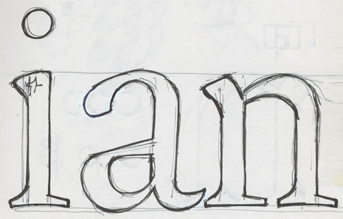 Sketches of Legitima. The additional weight where the strokes change direction (top) as well as the diversity of angles in the italics (bottom) are some of the characteristics that were preserved in the digital fonts.
