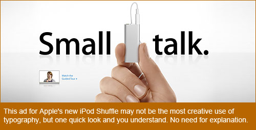 Apple.com home page promotion of the new iPod Shuffle shows the impact of clever typography
