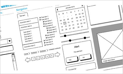 Dragnet website wireframes kit for Adobe Fireworks