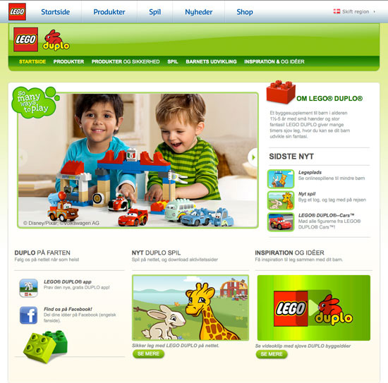 Lego Duplo website in Danish