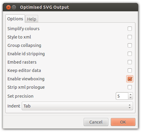 Choosing Enable viewboxing in the export dialog